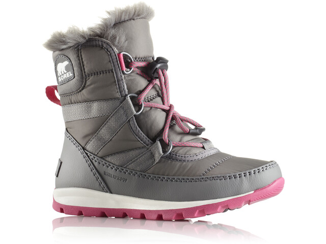 Sorel Youth Whitney Short Lace Boots Quarry/Ultra Pink